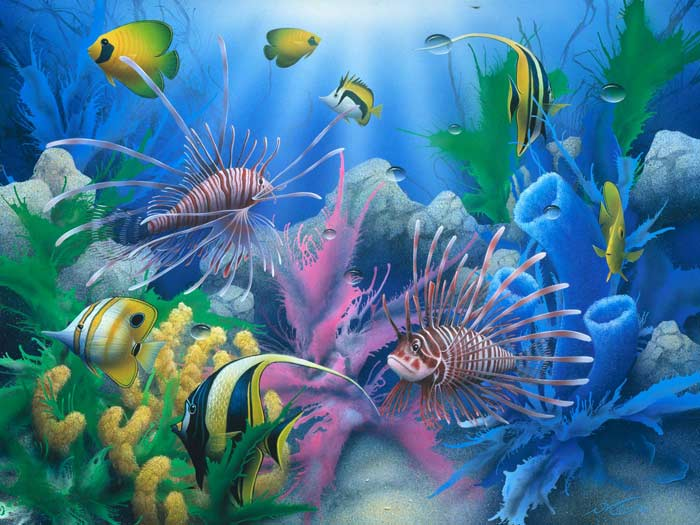 Lions of the Sea an under the sea coral reef painting by artist ...