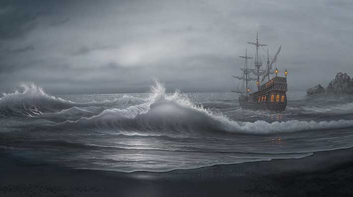 Painting of a storm at sea
