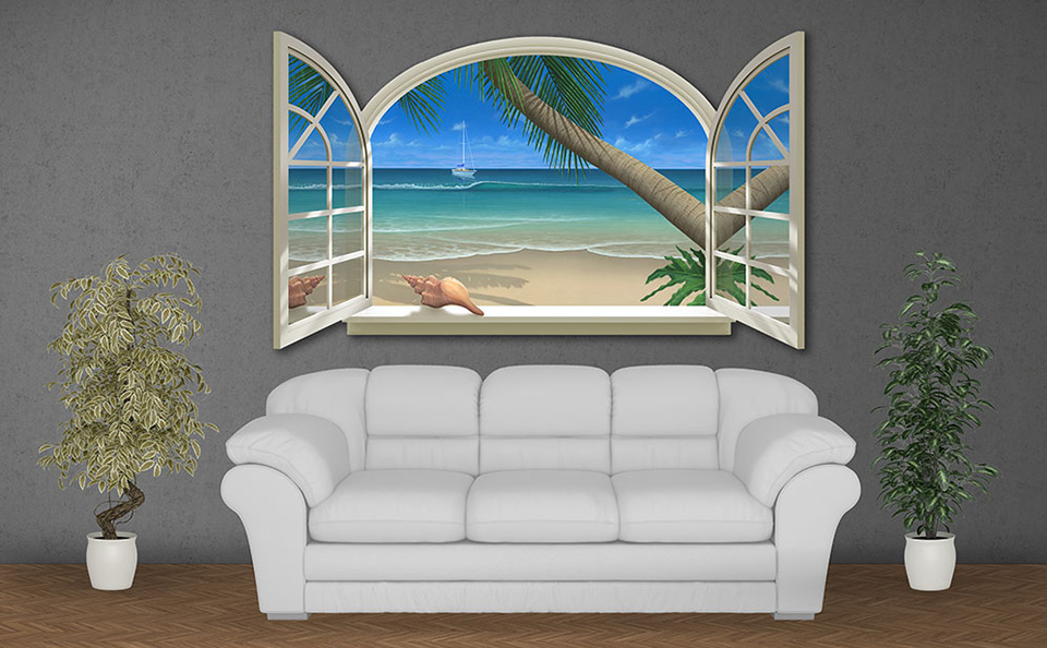 Ocean View Beach Painting on Wall