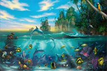 paradise found a dolphin painting by artist david miller