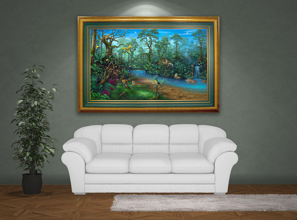 Rainforest Waterfall Painting