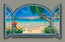 Beach Window Painting
