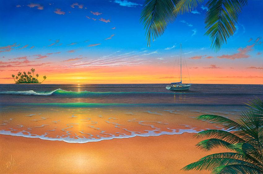 Sunset painting island romance for Beach sunset mural