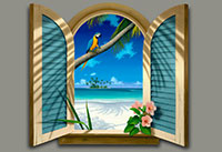 Window-to-Paradise Beach Painting